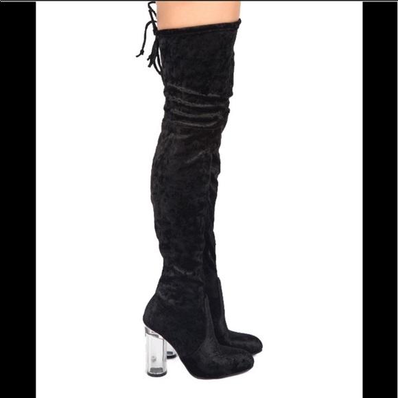 bf72801c8b3 NWT Qupid crushed velvet boot w  translucent heel